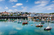 Quadro Harbor and Skyline of Saint Peter Port, Guernsey, Channel Islands, UK