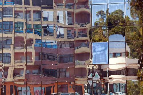 reflection in window of modern design building