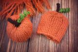 Knit orange pumpkin decoration - 175604565
