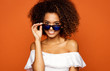 Beautiful african american female model wear sunglasses