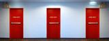 Emergency fire exit door red color.