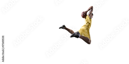 Fotobehang Basketbal Basketball player makes slam dunk. Isolated basketball player on a white background. Player wears unbranded clothes.