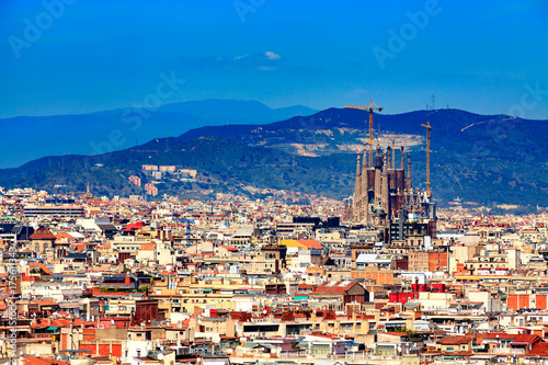 Deurstickers Barcelona Panoramic view of the city of Barcelona, Spain