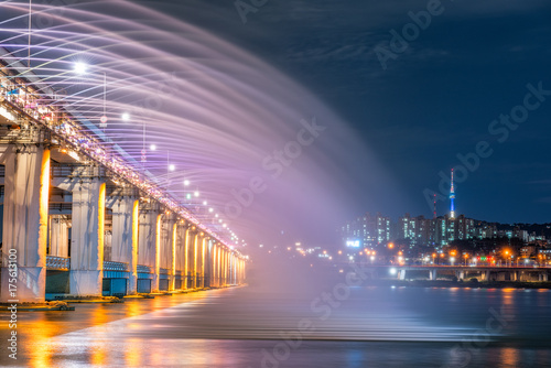 Rainbow fountain show at Banpo Bridge in Seoul, South Korea Poster
