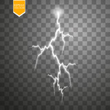 Set of lightnings. Thunder-storm and lightnings. Magic and bright lighting effects. - 175613395