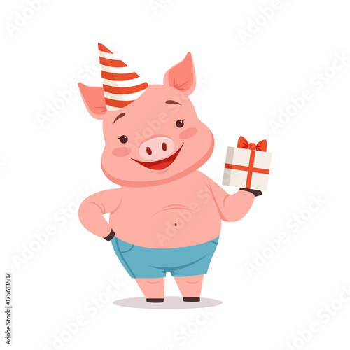 Cute pig in party hat holding gift box, funny cartoon animal vector Illustration