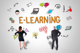 E-learning concept watched by business people - 175616178