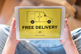 Free delivery concept on a tablet - 175616376