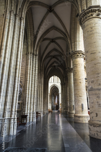 Foto op Canvas Brussel Interior of the Cathedral of Brussels in Brussels, Belgium