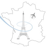 eiffel tower and map on white - 175626183