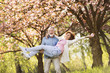 Senior couple in love outside in spring nature.