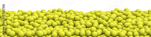Tennis balls pile panorama / 3D illustration of panoramic view of hundreds of tennis balls