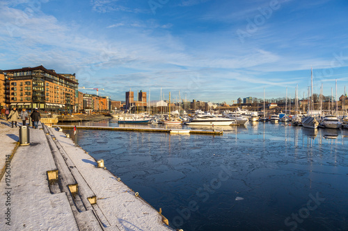 View on Oslo from marina in winter season. Norway Poster
