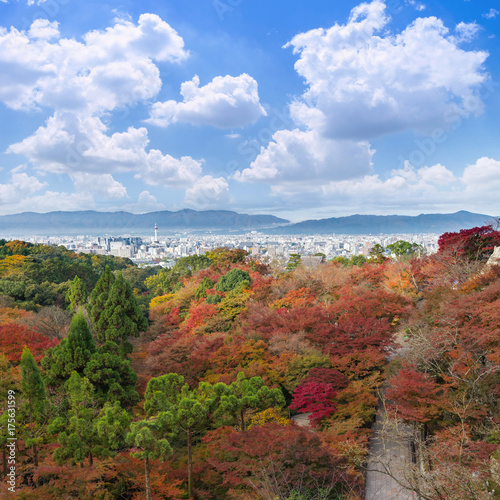 Fotobehang Kyoto the beautiful Momiji autumn colorful maple garden at Kiyomizu-Dera temple with Kyoto city background, Japan