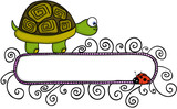 Cute turtle and ladybird with blank banner - 175631918