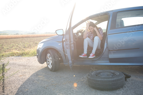 Stressing woman in car