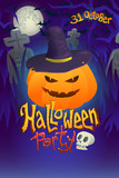 Halloween party poster with pumpkin on dark cemetery back - 175635115