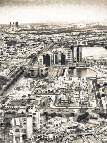 Spoed canvasdoek 2cm dik Abu Dhabi Aerial skyline of Abu Dhabi, UAE