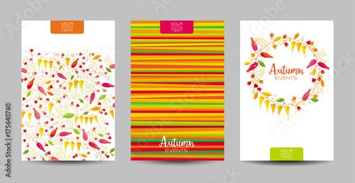 Autumn floral background set - 175640760