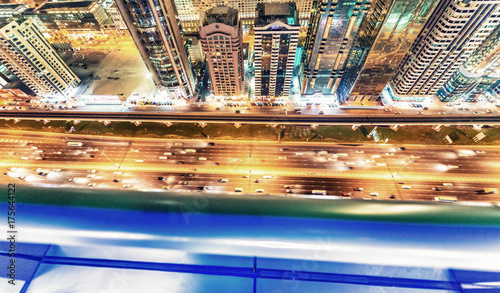 In de dag Dubai Beautiful night skyline of Dubai over Sheikh Zayed Road