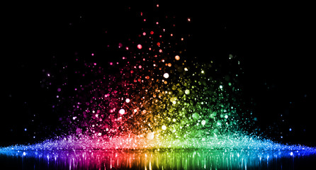 Rainbow of sparkling glittering lights abstract background © Leigh Prather