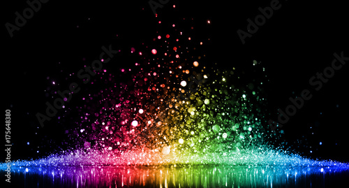 Fridge magnet Rainbow of sparkling glittering lights abstract background