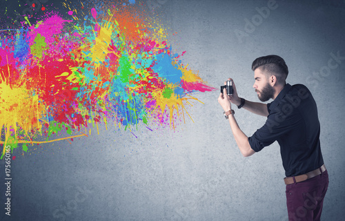 Deurstickers Wanddecoratie met eigen foto Hipster guy with camera and paint splash