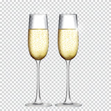 Fototapety Two Glass of Champagne Isolated on Transparent Background. Vector Illustration