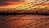 barbed wire on orange clouds - 175652982