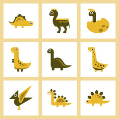 assembly flat icons cartoon dinosaur