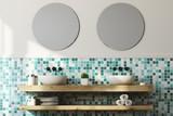 Green bathroom interior, double sink