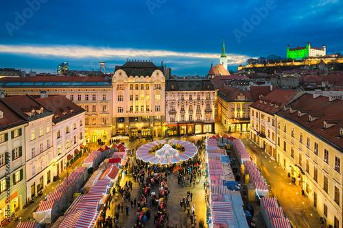Christmas market in Bratislava, Slovakia Poster