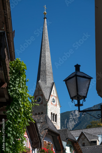 Tuinposter Zwart View of the Evangelical Parish Church in Hallstatt