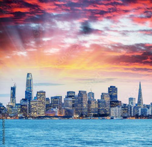 Night skyline of San Francisco from Treasure Island