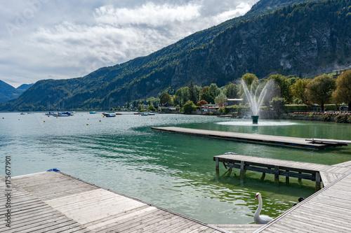 Plexiglas Pier Fountain in Lake Wolfgang at St. Gilgen