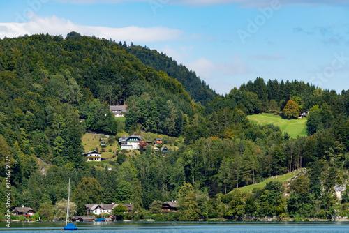 Fotobehang Pool Yachts Moored in Lake Wolfgang near St. Gilgen