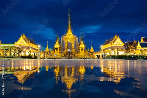 Aluminium Thailand Construction of His Majesty the late King Bhumibol Adulyadej's Royal funeral pyre at twilight, Bangkok, Thailand