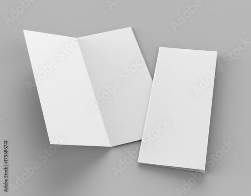 Leinwandbild Motiv Bi fold or  Vertical half fold brochure mock up isolated on soft gray background. 3D render illustration