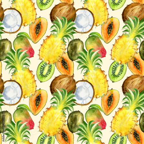 Cotton fabric Seamless pattern with tropical exotic fruits. kiwi, mango, pineapple and coconut slice