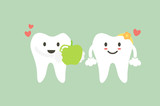 healthy tooth boy give fresh green apple to healthy tooth girl, dental care concept - 175687984
