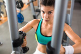Confident athletic woman looking at camera while having intensive training on butterfly machine at modern gym, waist-up portrait - 175689796
