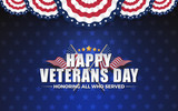 Happy Vererans Day Background Design with Cross Wavy Flag and Golden Stars. Honoring All Who Served. Vector illustration - 175691361