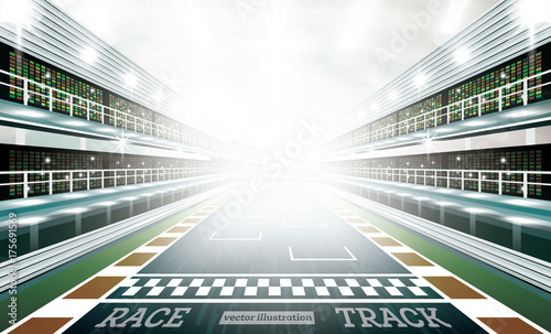 Foto op Plexiglas F1 Race Track Arena with Spotlights and Finish Line.