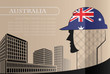 Building logo made from the flag of Australia ,construction working industry concept. Vector illustration - 175692767