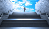 Success concept. Man standing of a gray staircase with metal railing leading to up. Concept of achievement. - 175698392