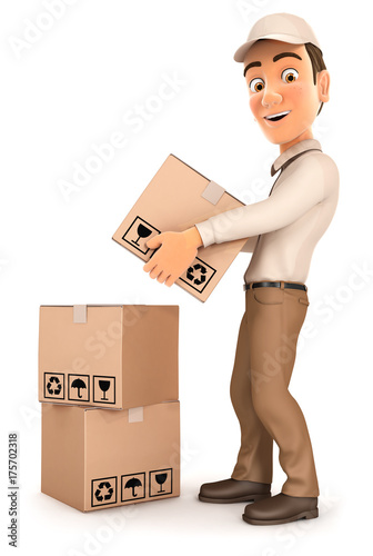3d delivery man stacking parcels