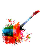Music instrument background. Colorful guitar with music notes isolated vector illustration - 175702996