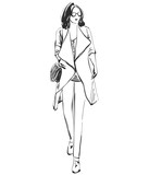 Beautiful young girl model for design. Fashion, style, beauty .Graphic, sketch drawing. - 175707355