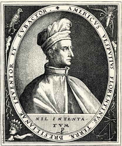 Amerigo Vespucci, Italian explorer, who first understood that America is a separate continent (from Spamers Illustrierte Weltgeschichte, 1894, 5[1], 61)