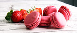 Sweet and colourful french macaroons or macaron with strawberry - 175720125